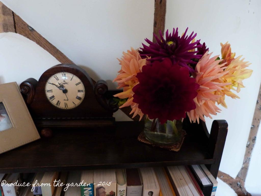 Dahlias on bookcase