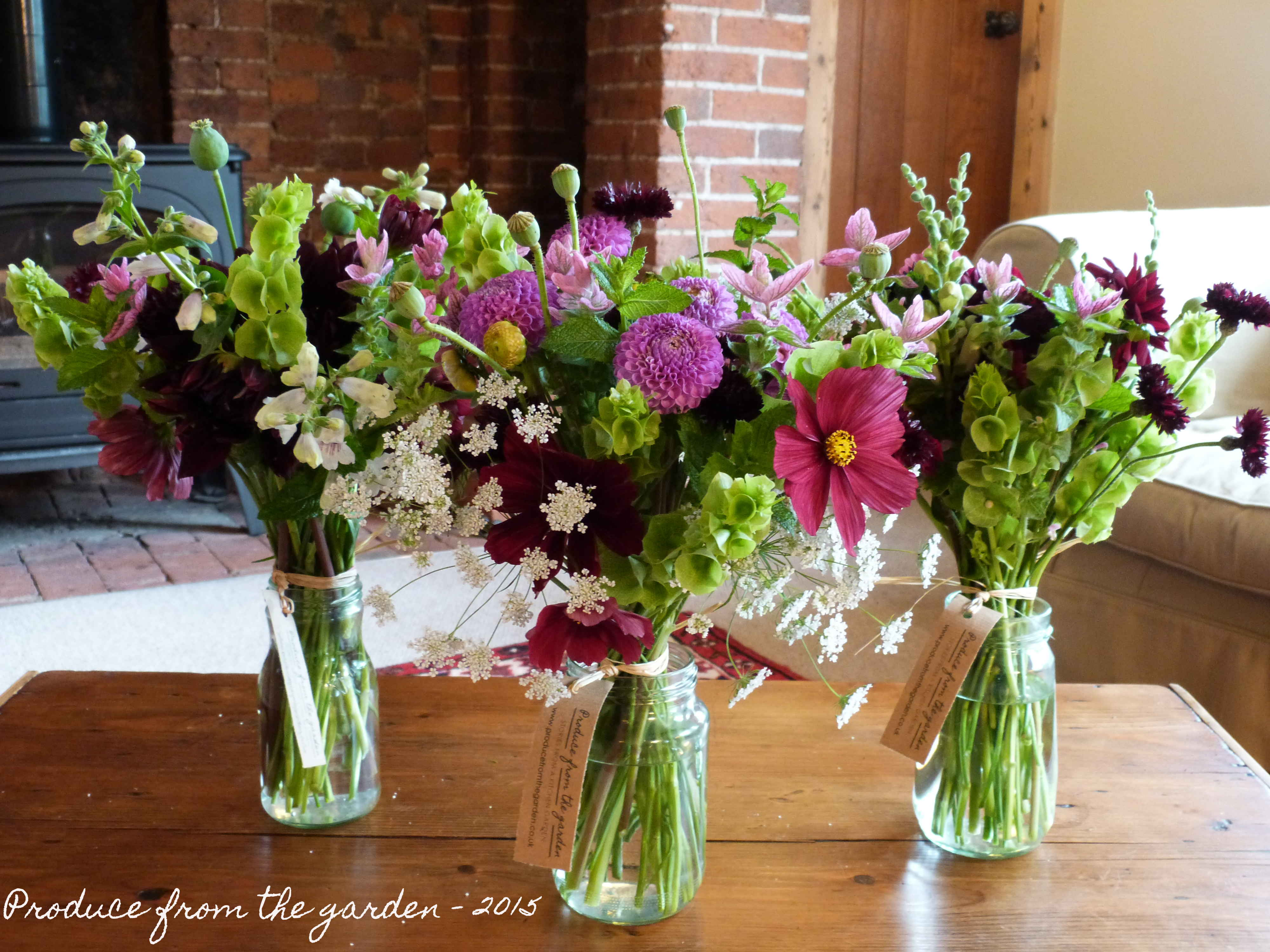 Flowers In Jam Jars Produce From The Garden