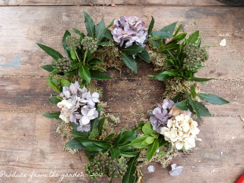 Hydrangea on the wreath