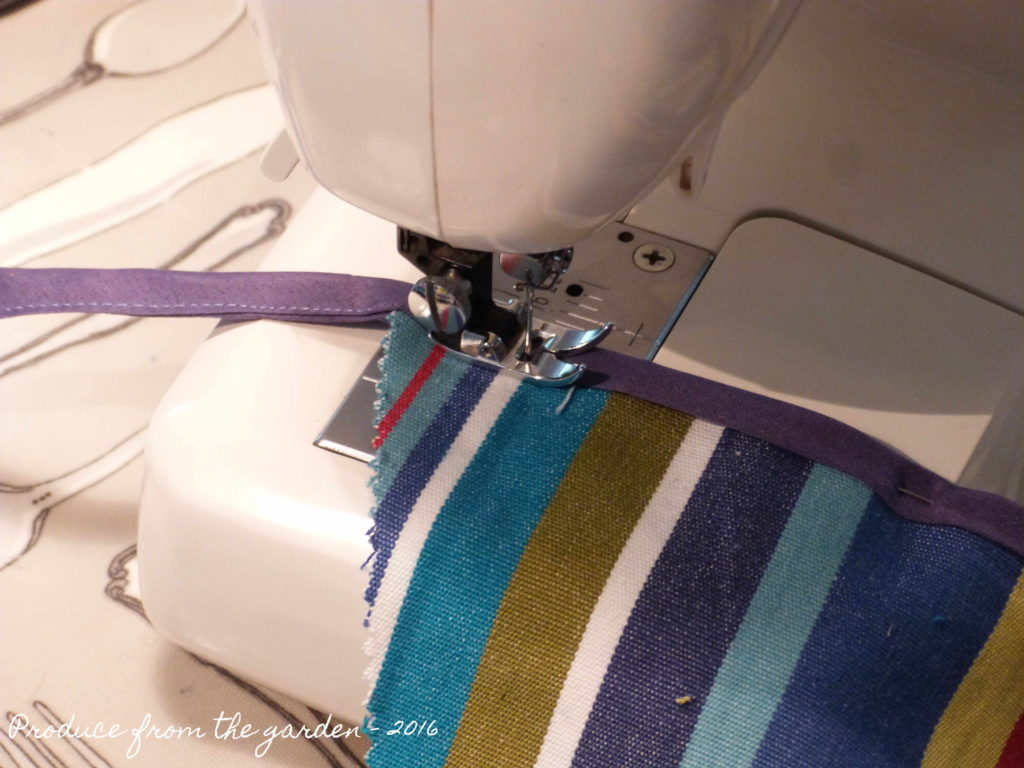 Bunting - Sew the flags to the bias binding