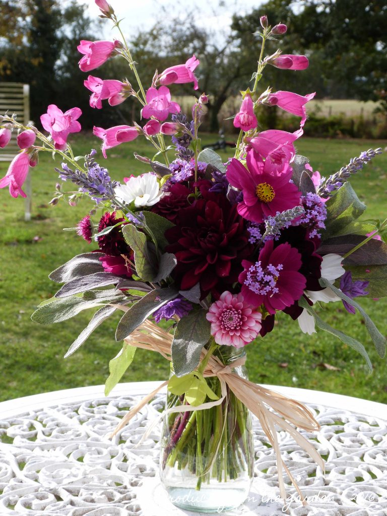 October posy of garden flowers